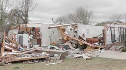 Tornado damage destroyed houses Footage