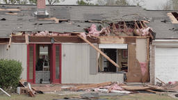 Tornado damage - house heavily damaged Footage