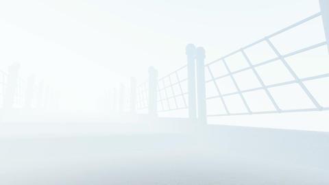 The camera passes along the stone bridge in fog and sunshine 2 Animation