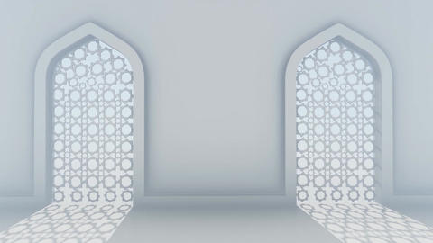 White Corridor Wall With Islamic Decorations In Middle Eastern Style 5 Animation