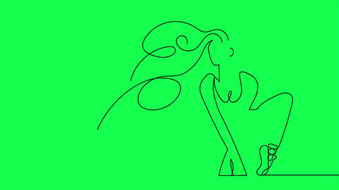 Self drawing animation of Ballerina dancing .Animated sketch drawing concept ballet line Animation