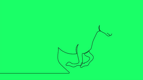 Self drawing animation of continuous one line drawing of isolated vector object Animation