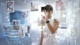Businesswoman wearing virtual reality headset Footage