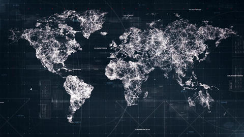 Conceptual World Map from dots lines - loop backgound Stock Video Footage