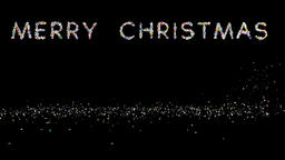 Merry Christmas text, holiday element against black Animation