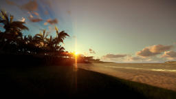 Tropical beach at sunset, travel camera Animation