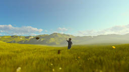 Little boy with airplane toy on a green meadow, beautiful morning Animation