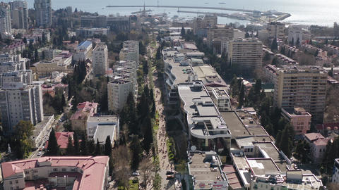 Sochi city at sunny day with architecture district downtown infrastructure Live Action