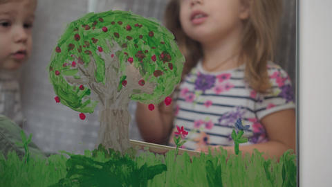 Childhood, creativity, nature, spring, summer concept - close-up of two little Live Action