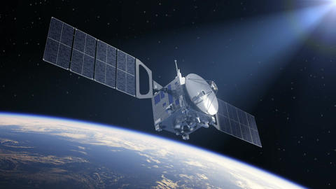 Satellite Deploys Solar Panels In The Rays Of The Sun Animation