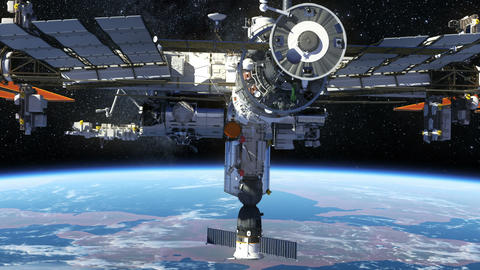 International Space Station Orbiting Earth Stock Video Footage