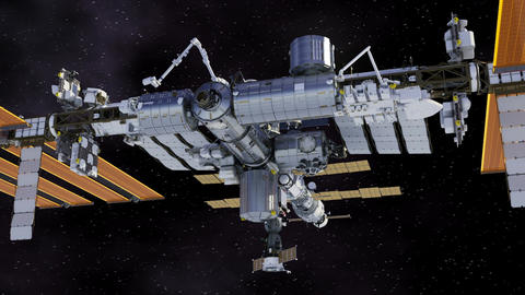 Flying Around International Space Station Animation