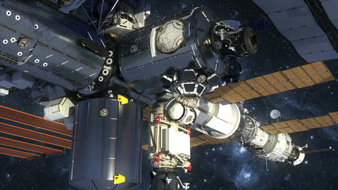 Flight Of International Space Station In Outer Space Animation