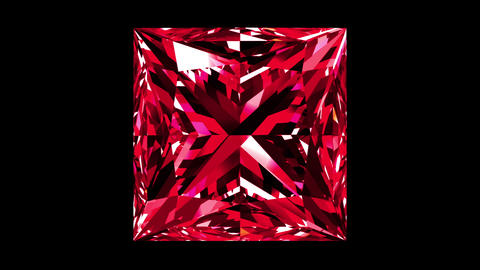 Iridescent Ruby Princess Cut. Looped. Alpha Matte Animation
