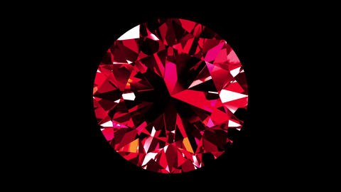 Iridescent Ruby Round Cut. Looped. Alpha Matte Animation