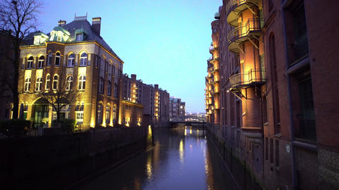 Famous Warehouse district in Hamburg Germany called Speicherstadt by night Live Action