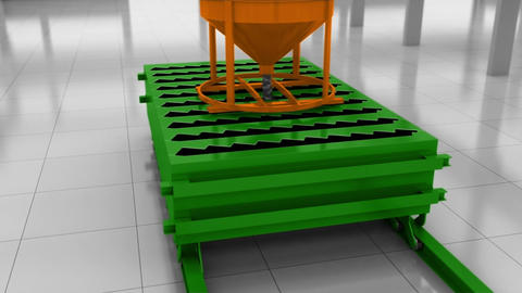 Automatic Process Of The Production Of Concrete Stairs Animation