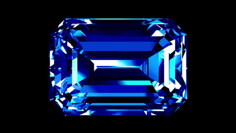 Sapphire Emerald Cut. Looped. Alpha Matte Animation