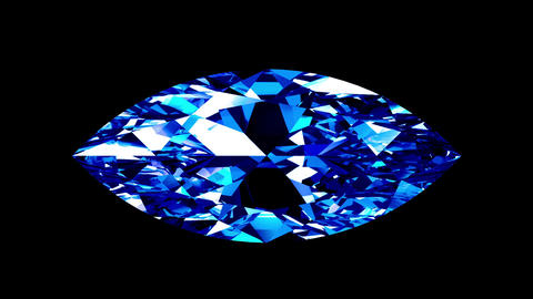 Sapphire Marquise Cut. Looped. Alpha Matte Animation