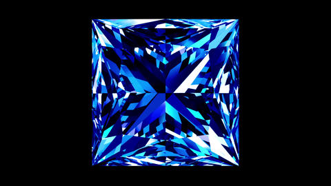 Sapphire Princess Cut. Looped. Alpha Matte Animation