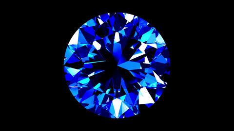 Sapphire Round Cut. Looped. Alpha Matte CG動画素材