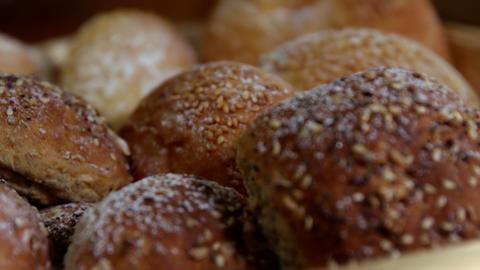 Sesame breads in wicker basket Live Action
