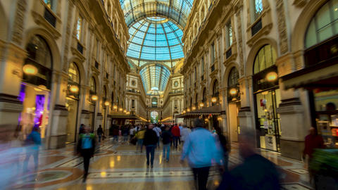 Milan city famous shopping duomo gallery panorama in 4k time lapse hyperlapse Live Action