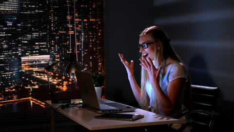 Woman in eyeglasses finding excellent solution for her business strategy in the Live Action