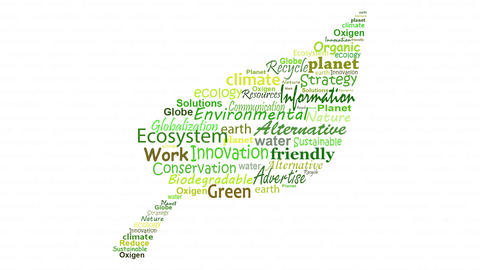 Animation with words related to the environment and ecology Animation