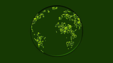 Planet animation made with ecological symbols Animation