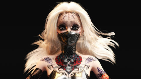 Animated 3D rendering of a female fantasy face with mask Animation