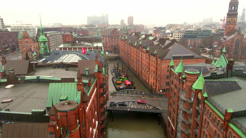 Famous Warehouse district in Hamburg Germany called Speicherstadt Live Action