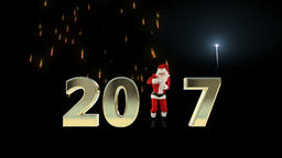 Santa Claus Dancing 2017 text, Dance 1, fireworks display Animation