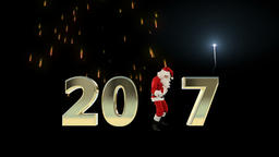 Santa Claus Dancing 2017 text, Dance 3, fireworks display Animation