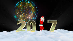 Santa Claus Dancing 2017 text, Dance 3, winter landscape and fireworks Animation