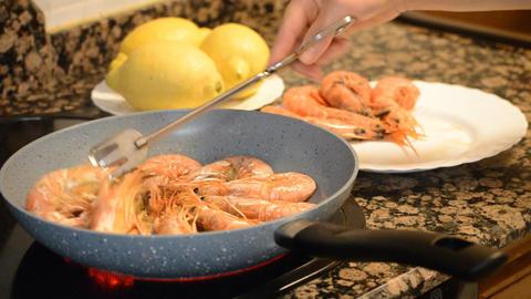 Turn Over Frying Shrimp Footage