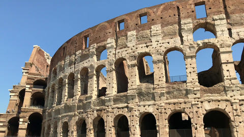 Close up view of famous Colosseum in Italy Live Action