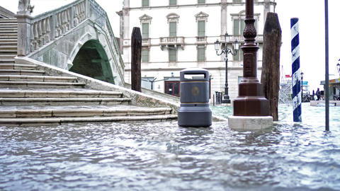 Heavy flood water covers streets and famous landmarks Live Action