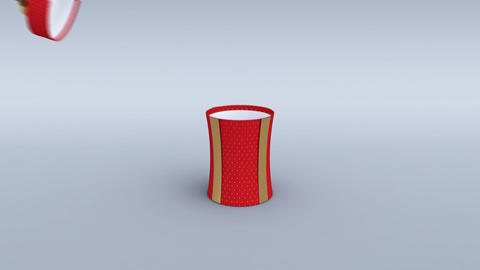 Red gift box with golden ribbon opening. Cylindrical shape. 4K Animation
