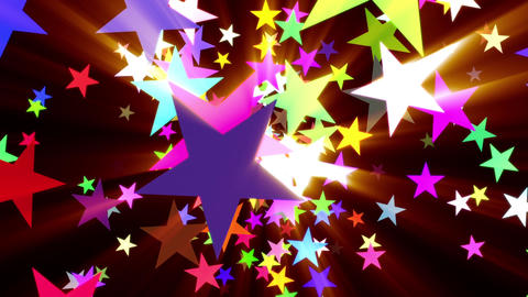 Multicolored Disco Stars Warm Rays VJ Motion Background Loop Rotate Left Animation