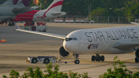 Airplane Airbus 330 towing before departure Footage
