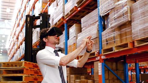 Supervisor using virtual glasses Footage