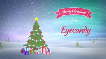 Christmas Tree with wishes, text animation with logo After Effectsテンプレート