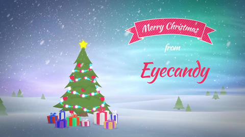 Christmas Tree with wishes, text animation with logo After Effects Template