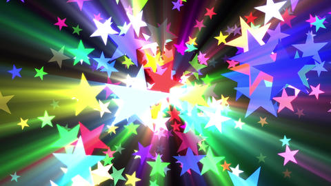 Multicolored Disco Stars Colorful Rays VJ Motion Background Loop Rotate Left Animation