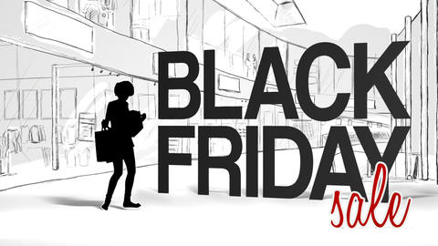 Woman with shopping bags against black friday logo Live Action