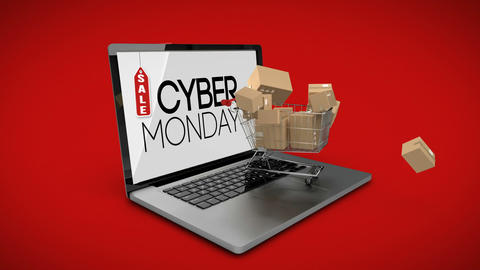 Cyber Monday logo on laptop with shopping trolley Footage