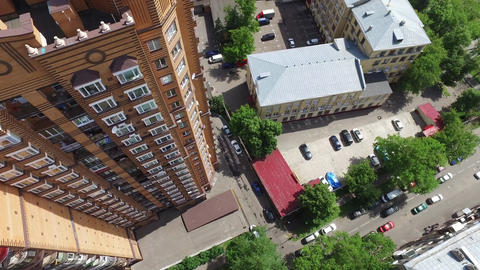 Apartment building brick color in the city in the summer Footage