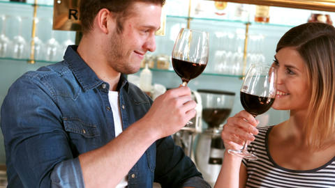 Couple toasting a glass of wine Footage