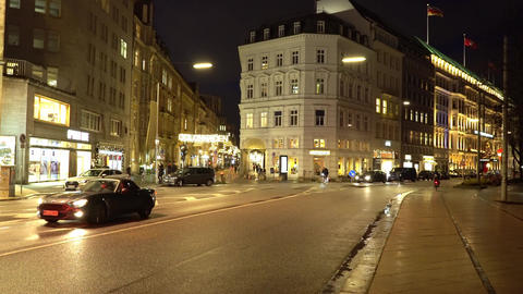 Famous street Jungfernstieg in the city center of Hamburg by night Live Action